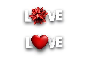 Love signs with red 3d heart and bow