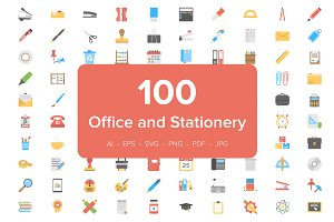 100 Office and Stationery Flat Icons