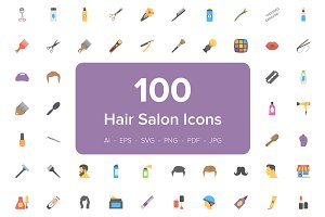 100 Hair Salon Flat Vector Icons