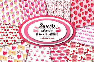Watercolor Sweets pattern pack