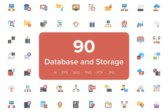 90 Database And Storage Flat Icons