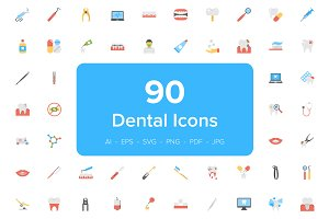 90 Dental Flat Vector Icons Set