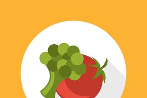 Tomato with broccoli icon