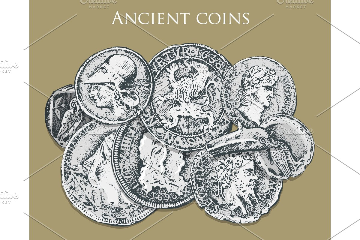 set ancient coins or money  roman and greek cash reward  engraved hand  drawn in old sketch, vintage style