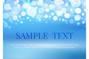 Abstract blue background with bokeh lights