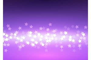 Bokeh light stars on lilac background