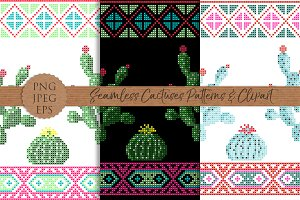 CACTI Seamless cactuses pattern set
