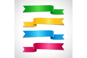 Set of colored decorative arrow ribbons