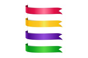 Set of colored arrow ribbons