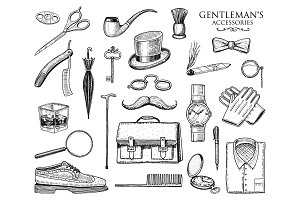 Gentleman Accessories Set. Hipster.