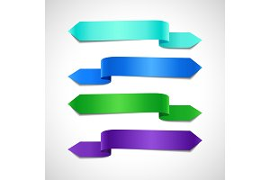 Azure, green and purple decorative banners