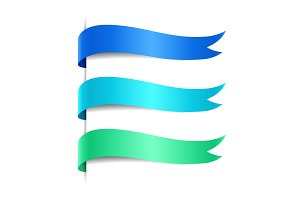Set of colored decorative wave banners