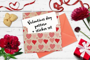 Valentine's Day pattern &sticker set