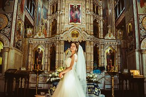 Stylish elegant bride on background