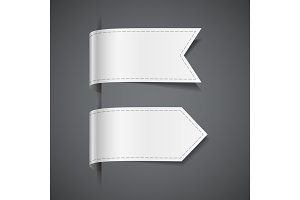 Set of white decorative ribbons