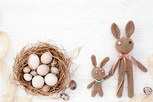 Easter eggs in nest & Easter bunnies