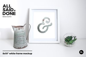 8x10 white frame with vintage jug