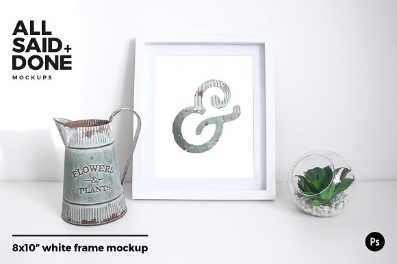 8x10 White Frame With Vintage Jug