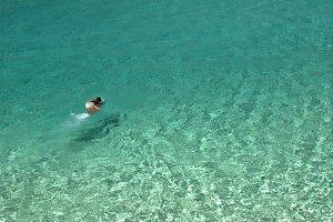 man swimming, mediterranean sea