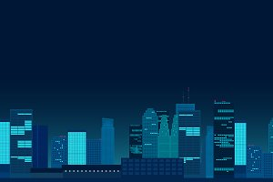 Night City neon vector illustration