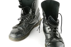Old shabby leather boots
