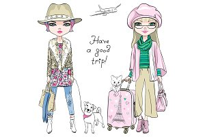 Vector beautiful fashion girls travel the world