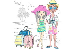 Vector hipster traveler couple on the sea beach