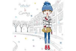 Vector fashion girl in winter clothes in old town