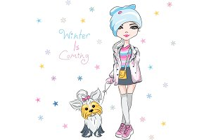 Vector fashion girl with dog
