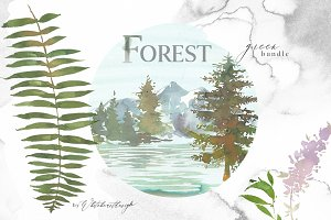 Forest - Green Watercolor Bundle