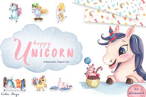 Watercolor Unicorn Clipart Set