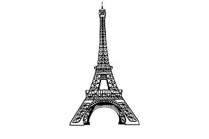 Vector sketch black Eifel Tower hand drawn landmark symbol of Paris, France. Great for french invitations, greeting cards, postcards, gifts.
