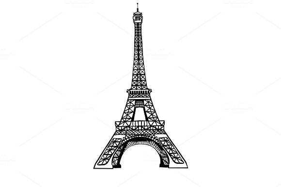 Vector Sketch Black Eifel Tower Hand Drawn Landmark Symbol Of Paris France Great For French Invitations Greeting Cards Postcards Gifts