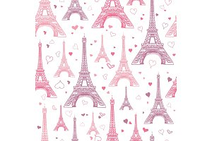 Vector Romantic Pink Eifel Tower Paris Seamless Repeat Pattern Surrounded By St Valentines Day Hearts Of Love. Perfect for travel themed postcards, greeting cards, wedding invitations.