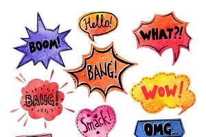 Watercolor comics speech bubble set