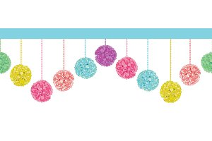 Vector Fun Set of Hanging Pastel Colorful Birthday Party Paper Pom Poms Set Horizontal Seamless Repeat Border Pattern. Great for handmade cards, invitations, wallpaper, packaging, nursery designs.
