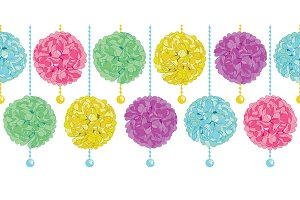 Vector Cute Set of Hanging Pastel Colorful Birthday Party Paper Pom Poms and Beads Horizontal Seamless Repeat Border Pattern. Great for handmade cards, invitations, wallpaper, packaging, nursery designs.