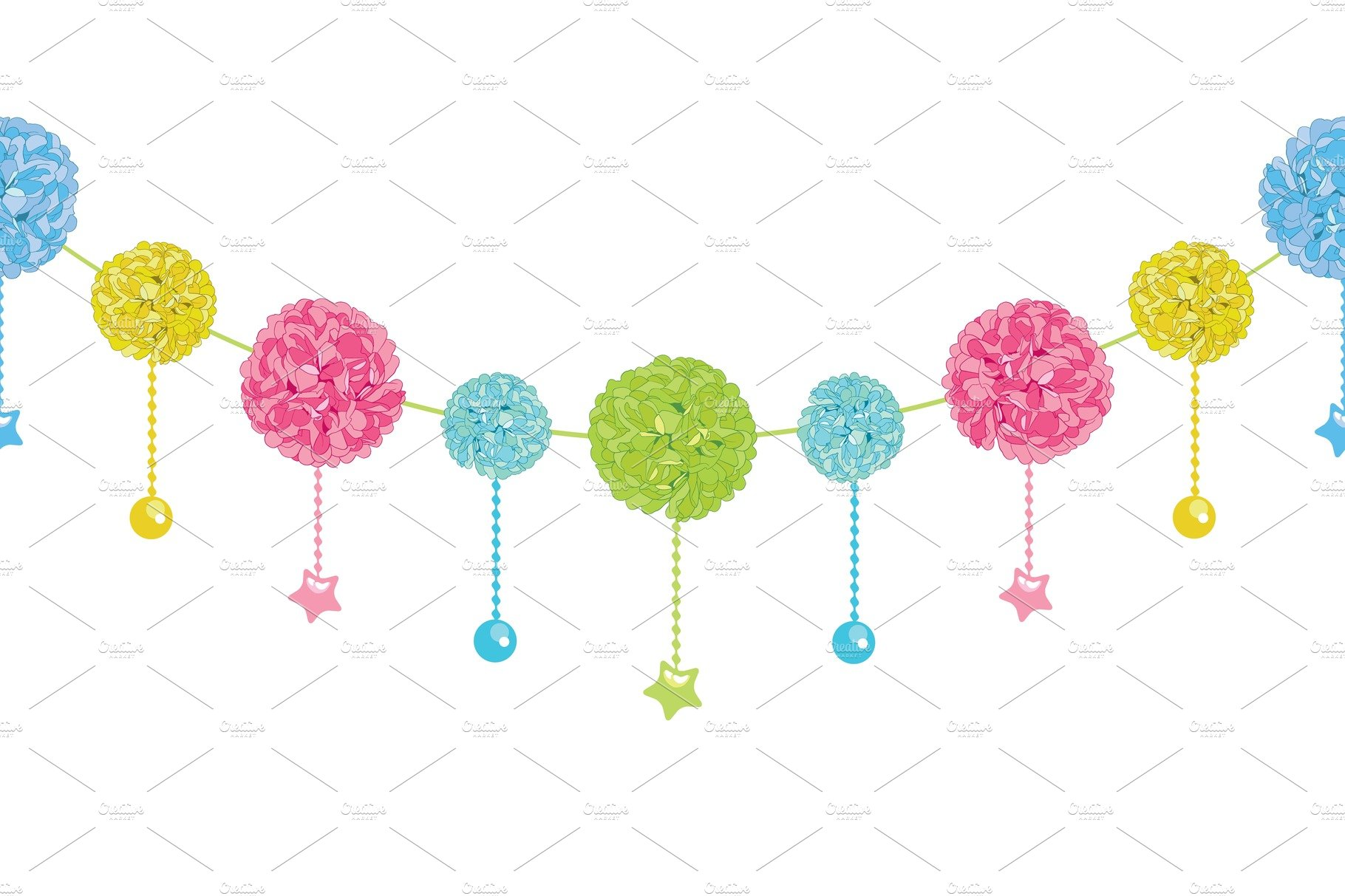 Vector Fun Set Of Hanging Pastel Colorful Birthday Party