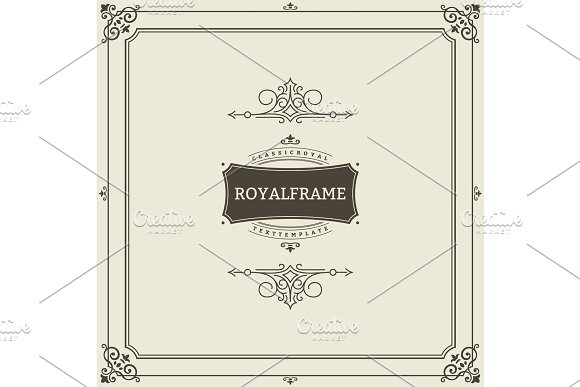 Invitation frame. Vintage ornament greeting card vector template. Retro wedding invitations, advertising or other design and place for text. Flourishes frame