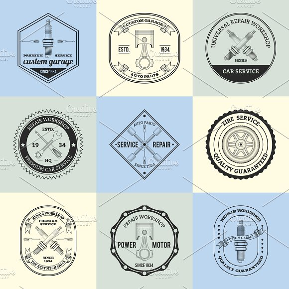 Repair workshop emblems set