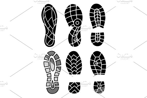 Footprint Icons Isolated On White Background Vector Art Collection Of A Imprint Soles Shoes Footprint Sport Shoes Big Vector Illustration Set