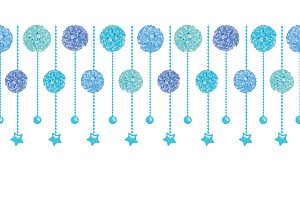 Vector Set of Fun Blue Bay Boy Birthday Party Paper Pom Poms and Beads Set Horizontal Seamless Repeat Border Pattern. Great for handmade cards, invitations, wallpaper, packaging, nursery designs.