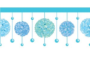 Vector Set of Blue Bay Boy Birthday Party Paper Pom Poms and Beads Set Horizontal Seamless Repeat Border Pattern. Great for handmade cards, invitations, wallpaper, packaging, nursery designs.