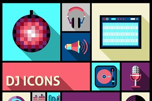 Dj studio and party music icon set