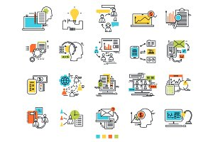 Icons for e-business. Engineering idea icons. Sosial media. The thin contour lines with color fills