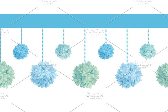 Vector Set of Hanging Blue Bay Boy Birthday Party Paper Pom Poms Set Horizontal Seamless Repeat Border Pattern. Great for handmade cards, invitations, wallpaper, packaging, nursery designs.