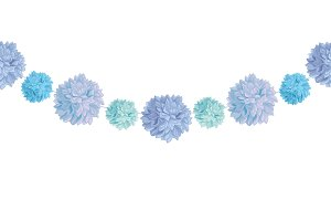 Vector Hanging Blue Bay Boy Birthday Party Paper Pom Poms Set Horizontal Seamless Repeat Border Pattern. Great for handmade cards, invitations, wallpaper, packaging, nursery designs.