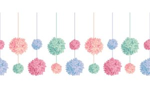 Vector Set of Hanging Pastel Colorful Birthday Party Paper Pom Poms Set Horizontal Seamless Repeat Border Pattern. Great for handmade cards, invitations, wallpaper, packaging, nursery designs.