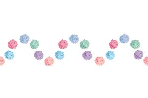 Vector Wave of Pastel Colorful Birthday Party Paper Pom Poms Set Horizontal Seamless Repeat Border Pattern. Great for handmade cards, invitations, wallpaper, packaging, nursery designs.