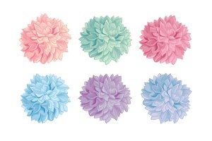 vector set of fun colorful birthday party paper pom poms great for